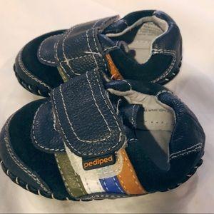 Pediped Boys Navy Stripe Crib Shoes